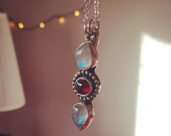 Red Moon - Moonstone and Garnet Sterling Silver Necklace
