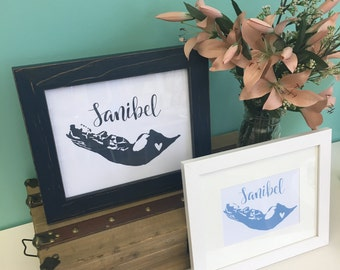 Sanibel Island Print // Hand Lettered.  Sanibel Map Art. Sanibel Location Art. Sanibel Home Decor. Wall Art. Sanibel Beach Decor. Florida