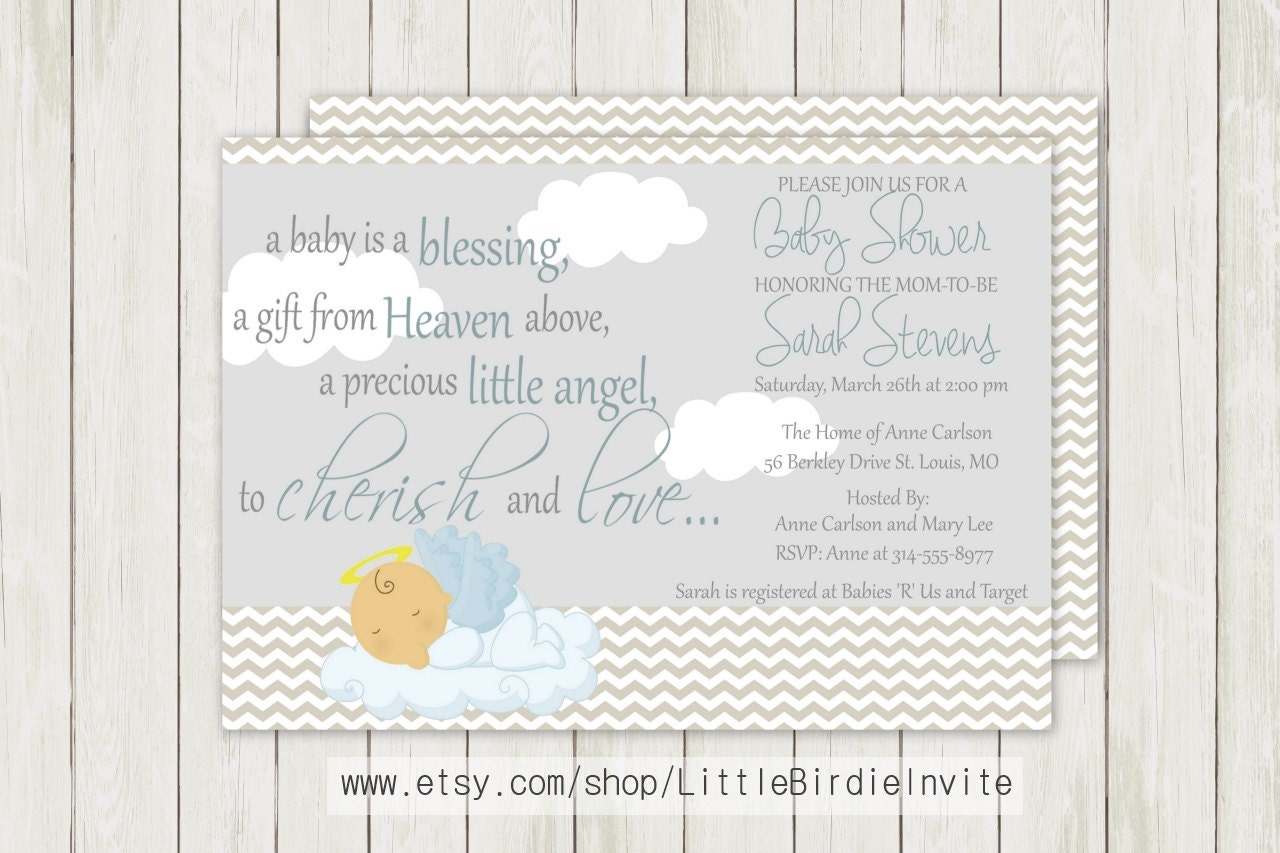 Heaven Sent Baby Shower Invitation Religious By