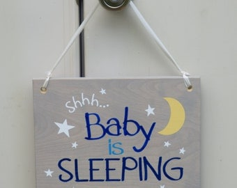 Shhh... Baby is Sleeping! Baby's Room Art, Nursery Decor Painting. Solid Wood, Hand Painted 1-sided sign