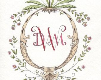Custom Watercolor Monogram Crest
