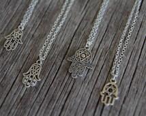 Silver Hamsa Hand Necklace / Hand of Fatima Necklace / Star of David Hamsa / Hamsa Jewelry