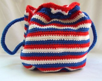 USA Drawstring Bag, Crochet Purse, Woman's Handbag, Red White and Blue Accessories, Veteran's Gift, Craft Project Bag, Carryall Bag