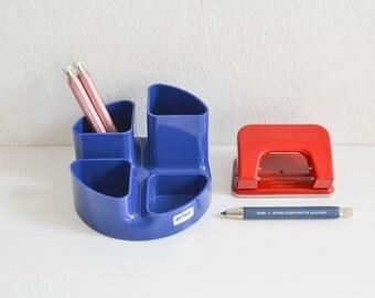 Vintage desk tidy, desk organizer, desk cadyy, blue desk accessory, pen holder, pencil holder