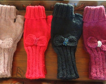 Fingerless mittens with Beaded Bow