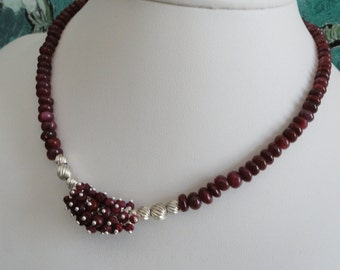 Ruby necklace and earring set  -   #476