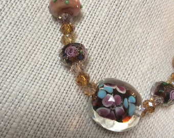 Lampwork Beaded Necklace, Amber Color