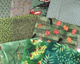 10* Green Tone Fun Beautiful Print Style 100% Cotton Fat Quarter Bundle E435