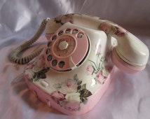 Retro phone. Antique phone. Hand-decorated phone Shabby chic style. Home decor