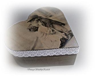 Vintage Decoupaged Box. Heart shaped Box. Wooden Heart Box. Shabby Chic Heart Box. Trinket Box. Storage Box. Jewelry Box. Keepsake Box.