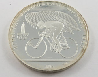 Russia-Moscow 1978 Silver Proof 10 Roubles Olympic Coin. Subject-Cycling