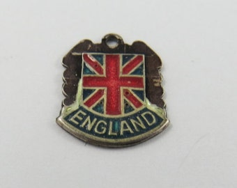 Enameled England With Flag Silver Charm of Pendant.