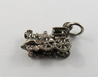 Small Locomotive Engine Sterling Silver Charm of Pendant.