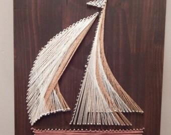 "Sailboat String Art- 12""x17 3/4"""