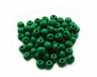 7mm Green Wooden Beads, Green Wood Beads, Wooden Beads, Green Beads, 7mm Wood Beads, Green Wooden Beads, Jewelry Making, DIY Beads