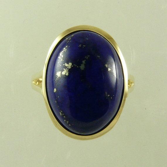 Lapis 16.2 x 11.9 mm Ring 14k Yellow Gold