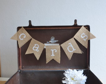 Rustic Burlap/Hessian Wedding Bunting/Banner - cards - for use with wishing well