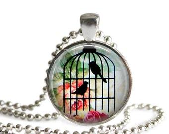 Birdcage Pendant,  Birdcage Necklace, Bird Jewelry, Glass Art Pendant, Picture Pendant, Birdcage Keychain, Birdcage Jewellery