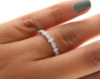 Unique Diamond Ring, Unique Diamond Band, Stackable Diamond Ring, Diamond Stacking Ring, Round and Princess Shape Diamond Ring
