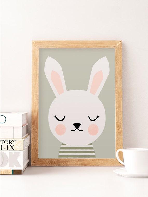 Rabbit wall art animals wall decor cute wall decor nursery for Minimalist room wall art