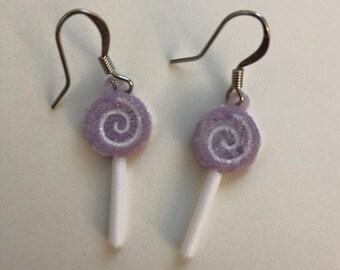 Purple Lollipop Candy Dangle Earrings