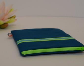 iPad Mini case, Kindle case, Nook case, eReader case – Dark Blue with Light Green/Blue Stripe, Padded