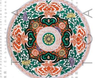 BEAUTIFUL Antique MANDALA. Digital Mandala Download. Vintage TIBETAN Mandala Print. Digital Asian Mandala Download
