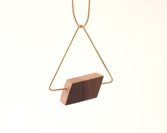 ANR Brass Triangle #2  // wood brass triangle necklace, geometric wood necklace, wood triangle necklace, leather cord necklace
