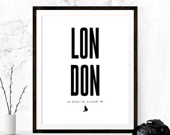 London Latitude Longitude Print, London Poster, London Art, Typography Poster, London Map, Printable Art, Fashion Print, London Coordinates
