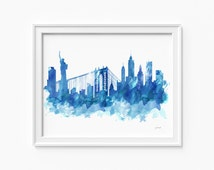 """New York watercolor skyline, printable file (JPEG) download and print any size between 5""""x7"""" and 16""""x20"""", Art, Wall art, home decor"""