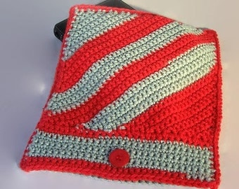 """IPad Electronic Case Crocheted in Your Choice of Team/School Colors or Other Color Favorites - 9""""W x 11""""L - MADE TO ORDER - Free Shipping"""
