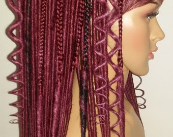 full head, 60, double ended dreads, synthetic dreadlocks, kanekalon,  burgundy with black accent, smooth dreads