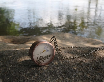 Pressed Flower Copper Pendant Necklace