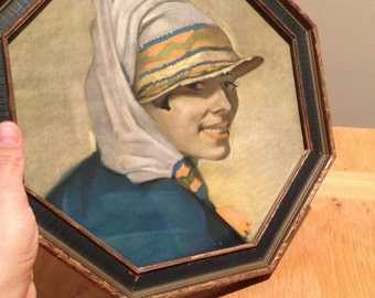 "20s Framed Lithograph Print of ""Grinny""  Portrait by E. Winold Reiss"