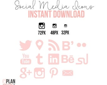 Social Media Icons Shape INSTANT DOWNLOAD Light Coral Pink