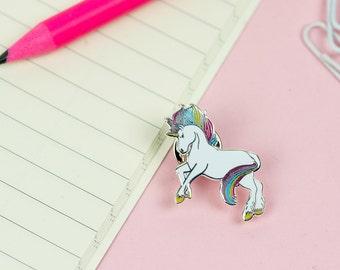 Rainbow Unicorn Pin // Prancing Unicorn enamel pin, hard enamel pin badge, Unicorns are real//EP018