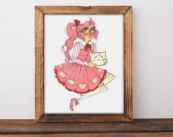 Cat Girl Art Print 8x10