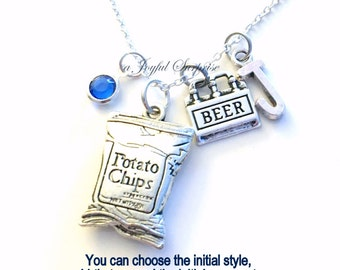 Potato Chips Necklace Beer Jewelry Six Pack Charm Gift for Boyfriend Girlfriend Chip Personalized Initial Birthstone Canada present food
