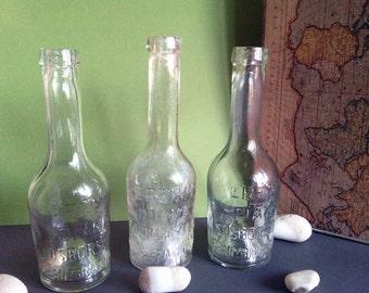 Clear glass bottles soda coke wine aqua empty antique vase canister glasswear water bottle juice 1950s  collectible soda pop studio SET of 3