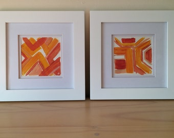 Pair of Colorful Abstracts, Orange and Pink, Acrylic Paper, Framed Painting, Small Painting, Geometric Painting, Coral, Orange, Abstract