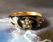 Mourning Ring | Antique Ring | Victorian Ring | Victorian Enamel Ring | Pearl Ring | Victorian Gold Ring | Forget Me Not | Hair US Sz 6.75