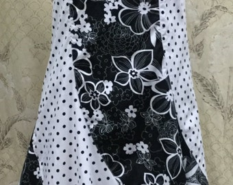 DEADSTOCK Cute Black and White Polka Dot and Floral Print Strapless Dress