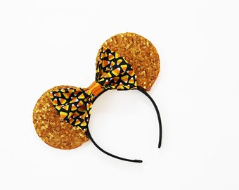 Orange Sequins Halloween Mouse Ears