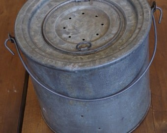 Vintage Galvanized Metal Fishing Bait Bucket
