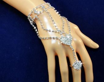 Crystal Hand Jewelry. Rhinestone Hearts. Sparkling Boho Chic Wedding Bracelet. Hand Chain Harness. Body Chain. Hand piece. One piece