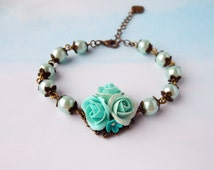 Turquoise Floral Bracelet handmade of polymer clay  Vintage pearl bracelet with turquoise rose and pearls  Gift for Girls