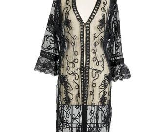 Vintage 1990s black sheer flower kimono - 90s long netting braid lace see-through jacket - Nineties swirl floral pattern kimono jacket