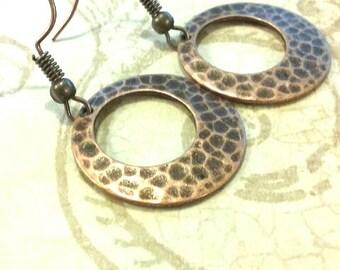 Copper hoop earrings, copper earrings