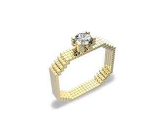 14k Gold Video Game Engagement Ring 8 Bit Ring Nerdy Engagement Ring Geeky Engagement Ring Nintendo Engagement RIng Minecraft