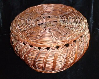 Antique French Basket-Normandy-Handmade-Lidded Willow Basket-Sculptural Art Form-E 20th C-Display-Interior Design-Sewing-Utility-Storage